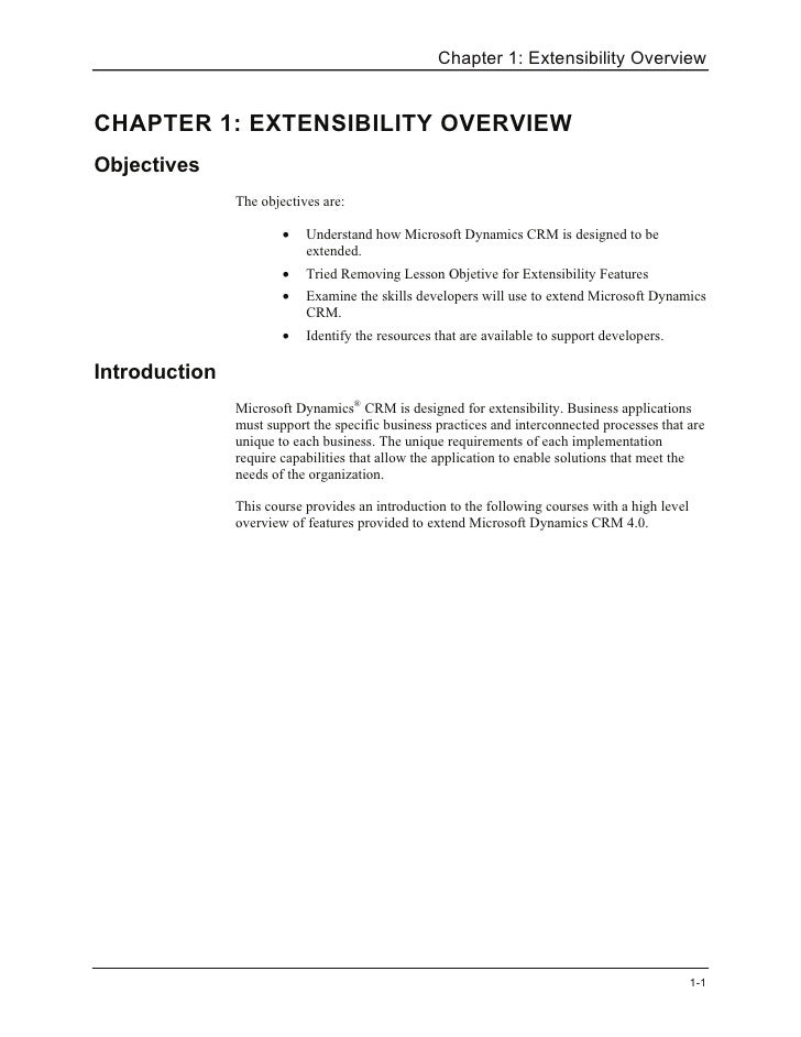 Chapter 1: Extensibility Overview   CHAPTER 1: EXTENSIBILITY OVERVIEW Objectives                The objectives are:       ...