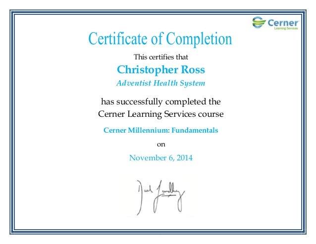 cerner training ross christopher certificate mellenium fundamentals 6th nov slideshare