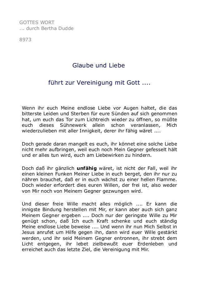GOTTES WORT ... durch Bertha Dudde 8973 Glaube und Liebe führt zur Vereinigung mit Gott .... Wenn ihr euch Meine endlose L...