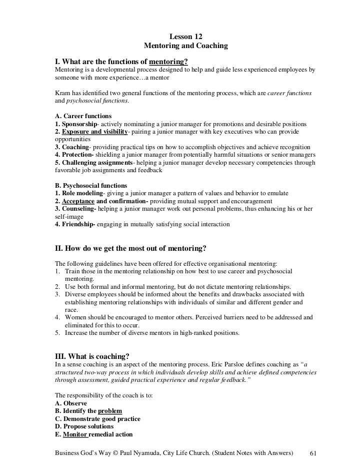 Lesson 12                                  Mentoring and CoachingI. What are the functions of mentoring?Mentoring is a dev...