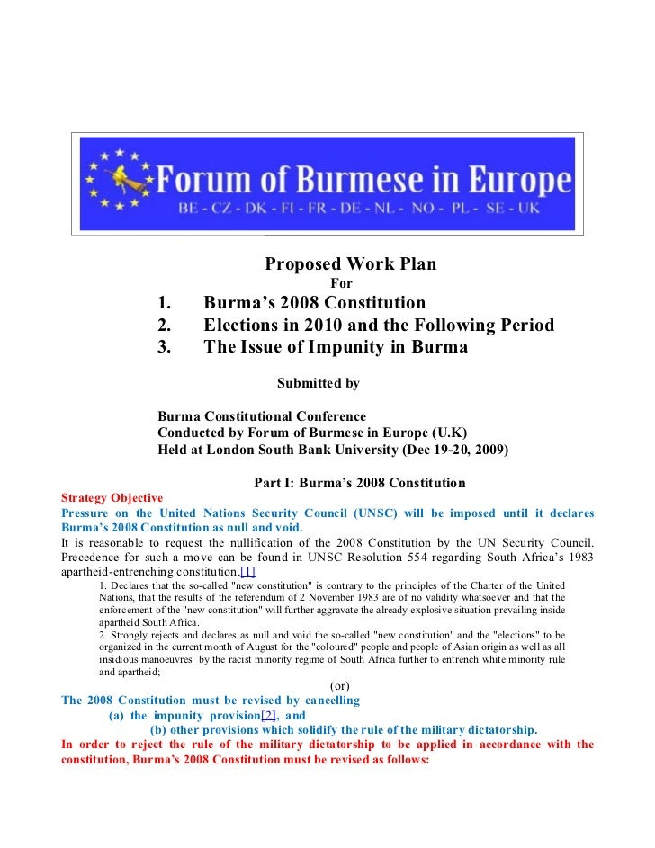 Proposed Work Plan                                                             For                    1.         Burma's 2...