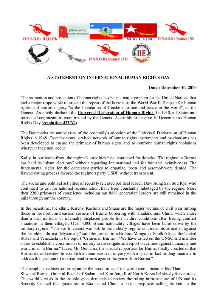 A STATEMENT ON INTERNATIONAL HUMAN RIGHTS DAY                                                                        Date ...