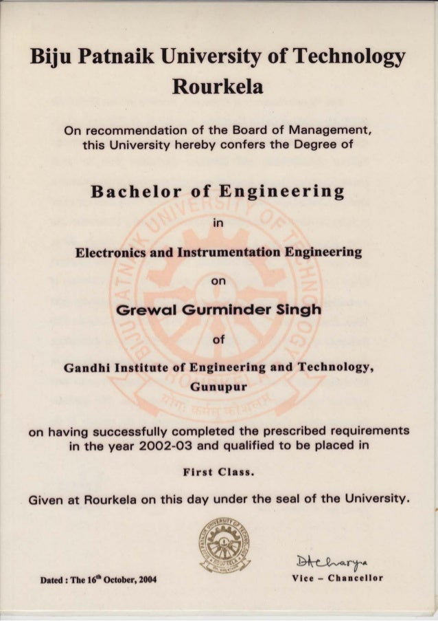 Biju Patnaik University of Technology Rourkela On recommendation of the Board this University hereby confers of Management...
