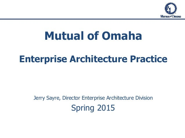 Mutual of Omaha Enterprise Architecture Practice Jerry Sayre, Director Enterprise Architecture Division Spring 2015