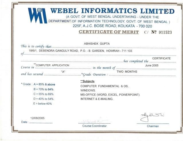 basic computer certificate format pdf