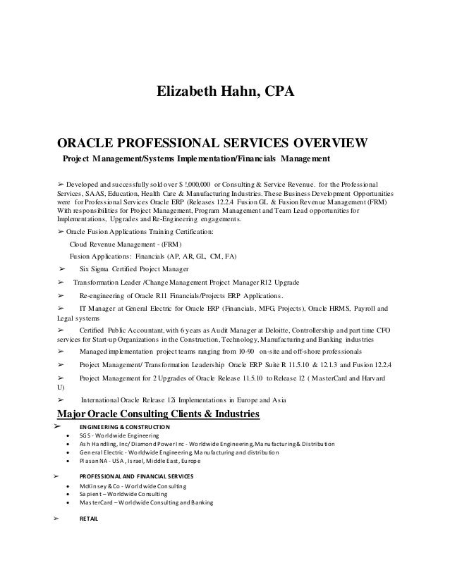 erp project manager resumes