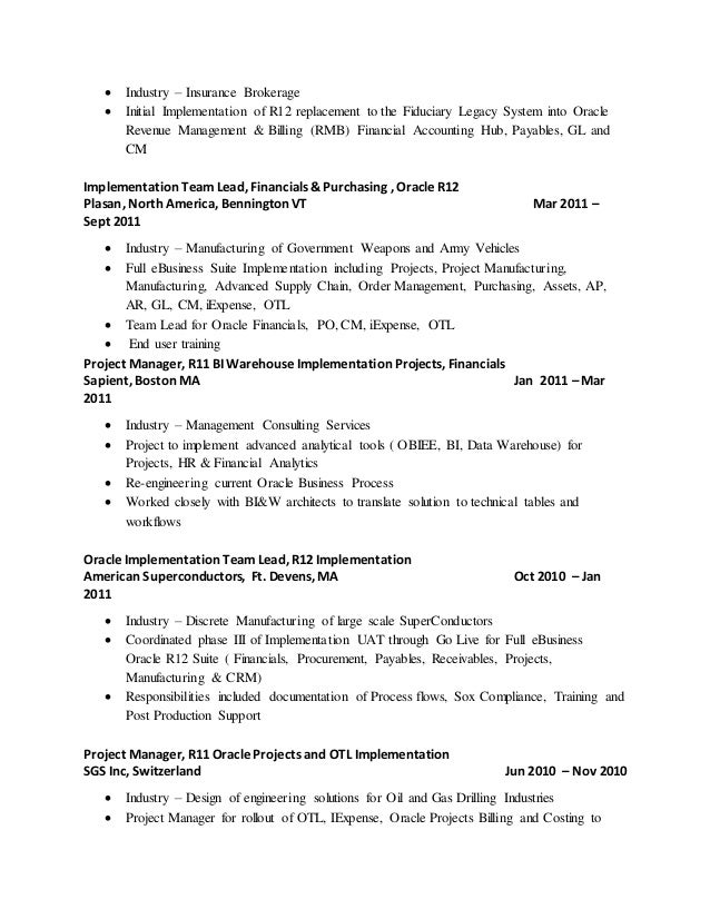 Executive Business Process Analyst Resume Page
