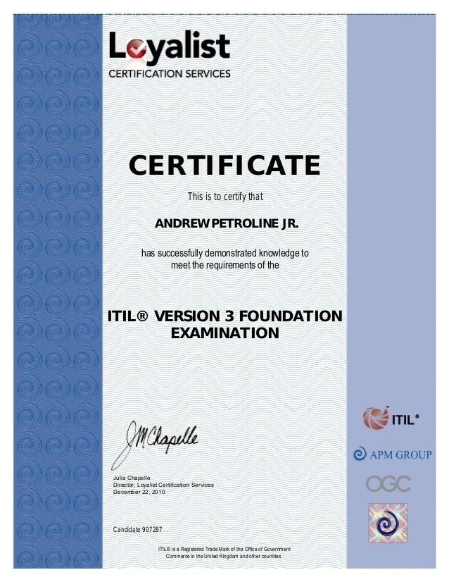 Itilv3 Foundations Certified 12 22 10