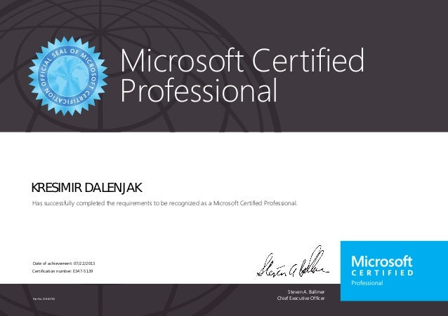 Microsoft Certified  Professional  KRESIMIR DALENJAK  Has successfully completed the requirements to be recognized as a Mi...