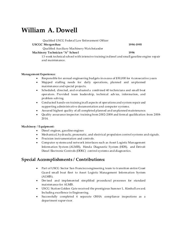 william dowell resume