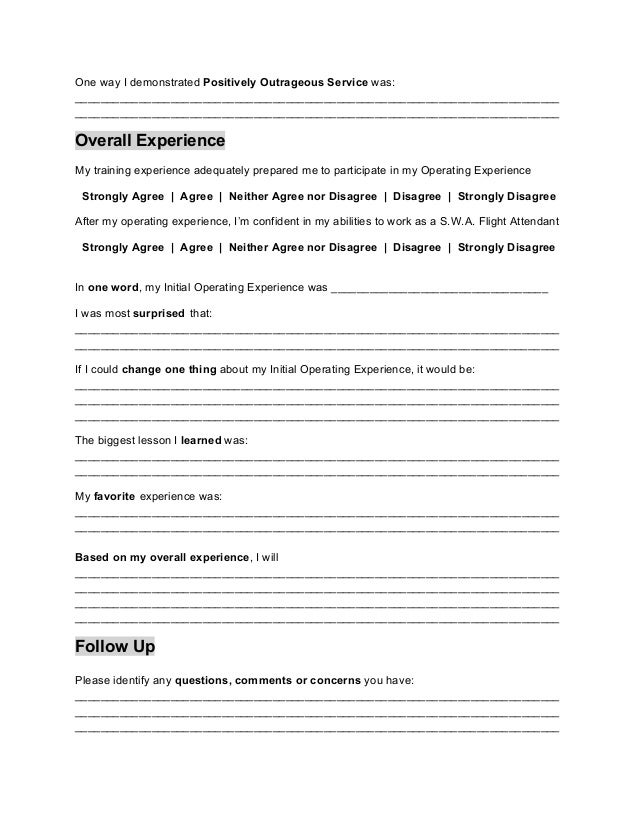Initial Operating Experience Feedback Form