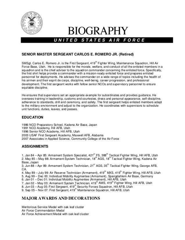 Military bio carlos romero jr for Army board bio template