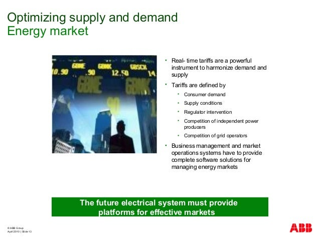© ABB Group April 2010   Slide 13 Optimizing supply and demand Energy market  Real- time tariffs are a powerful instrumen...