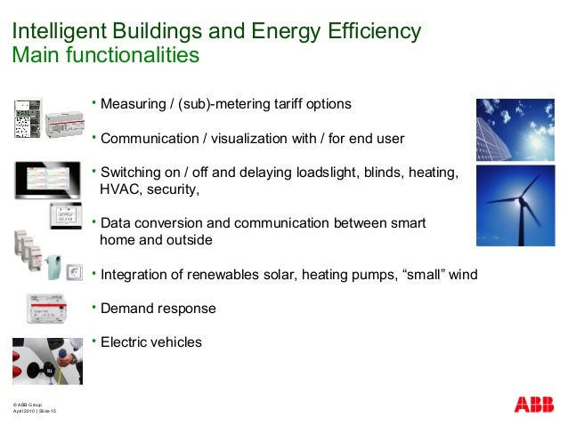 © ABB Group April 2010   Slide 15  Measuring / (sub)-metering tariff options  Communication / visualization with / for e...
