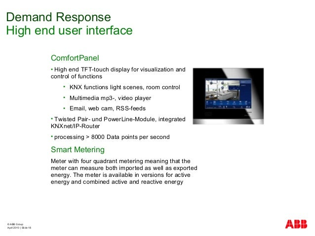 © ABB Group April 2010   Slide 18 ComfortPanel  High end TFT-touch display for visualization and control of functions  K...