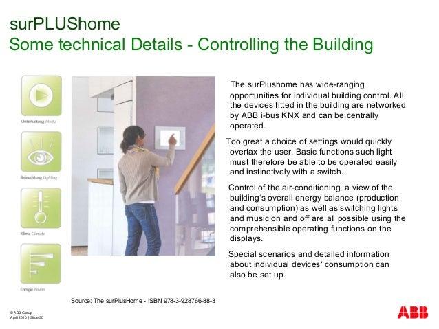 © ABB Group April 2010   Slide 30 surPLUShome Some technical Details - Controlling the Building Source: The surPlusHome - ...