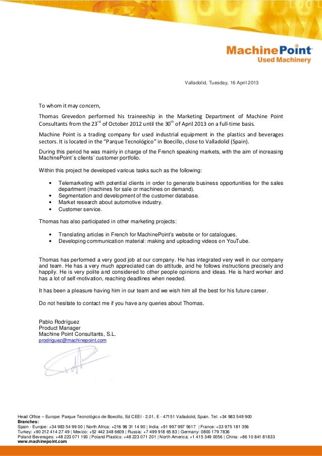 Recommendation Letter Product Manager 2013
