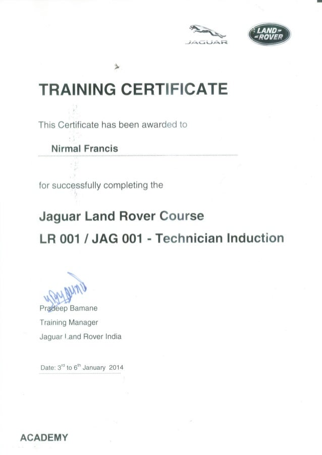 LAND ROVER CERTIFICATE - Jag land rover