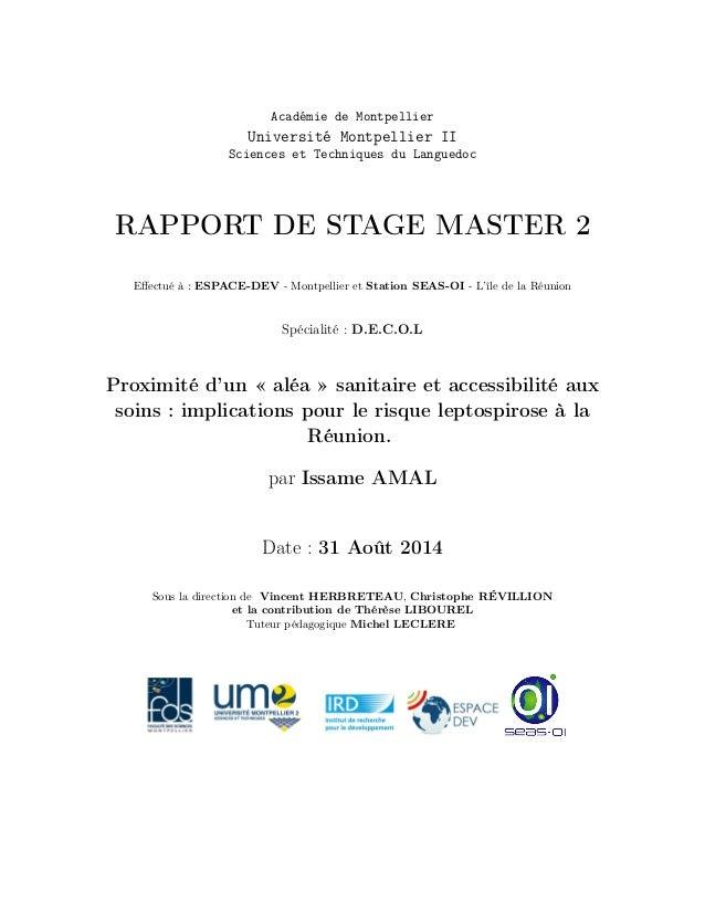 Académie de Montpellier Université Montpellier II Sciences et Techniques du Languedoc RAPPORT DE STAGE MASTER 2 Effectué à ...