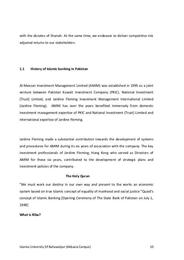 internship report of an islamic bank meezan Internship report introduction of bank alfalah islamic banking  meezan islamic  bank dawood islamic banking dubai islamic bank, pakistan ltd emirates.