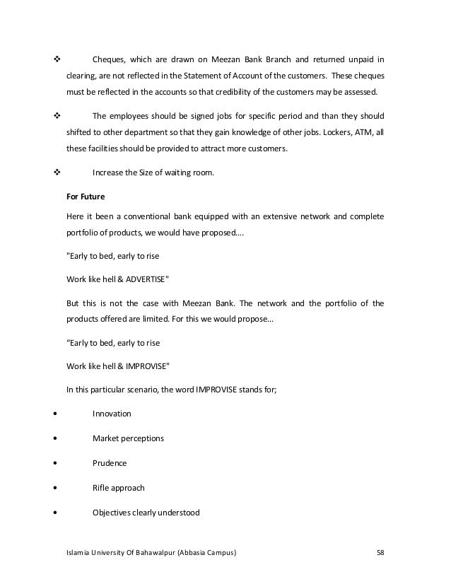 internship report of an islamic bank meezan View test prep - internship_report_on_meezan_bank_ltd from finance 601 at iobm acknowledgement internship training for the students of commerce and business is a complimentary portion of the.