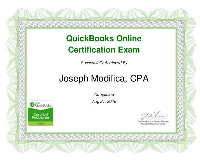 Quickbooks Online 2016 Certification Certificate