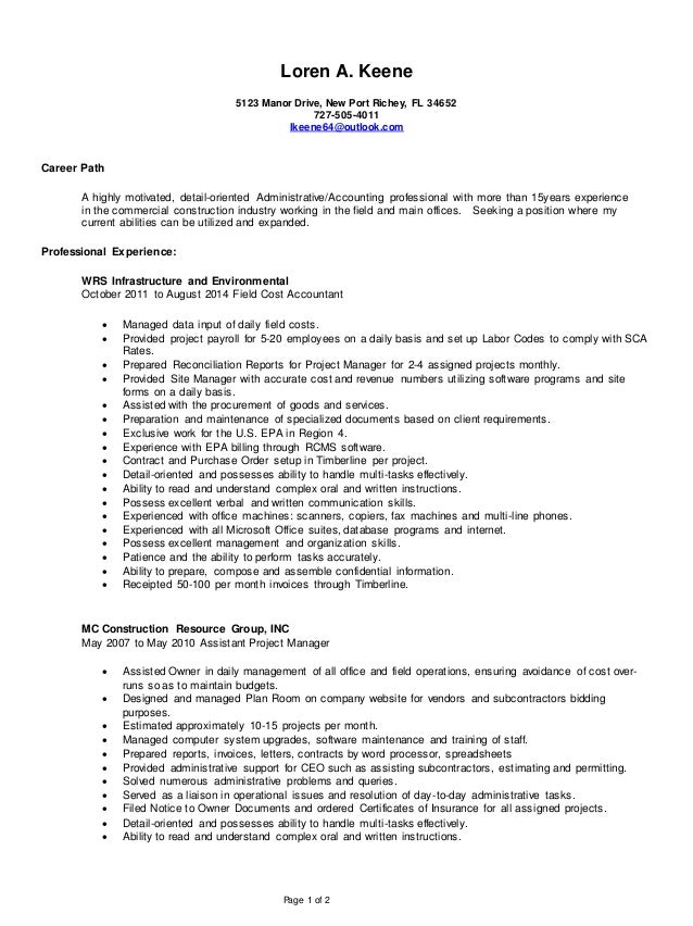 2015 Resume Construction Background