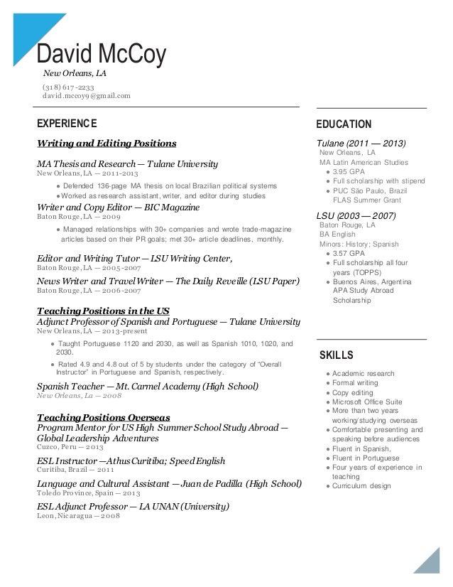 Resume Mccoy Writing Editing