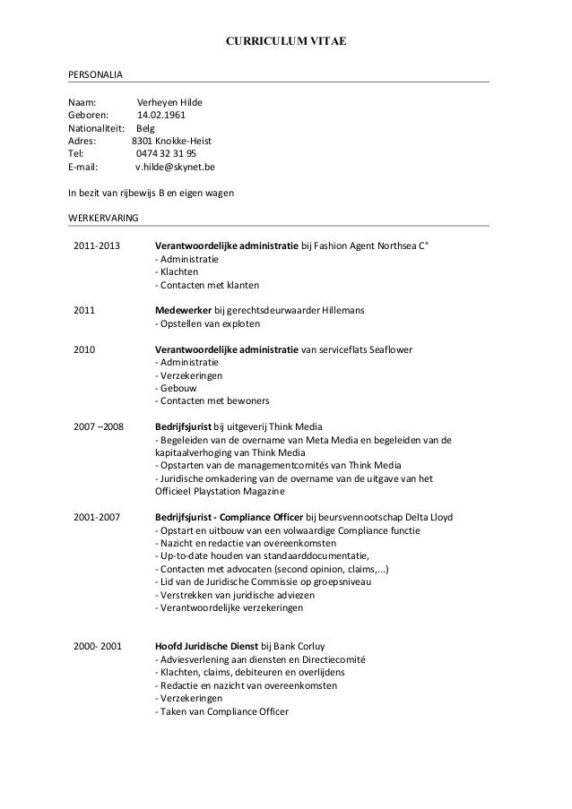 nationaliteit cv CV Hilde Verheyen 2015