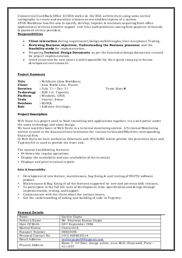 sachin gupta resume java j2ee scrum developer