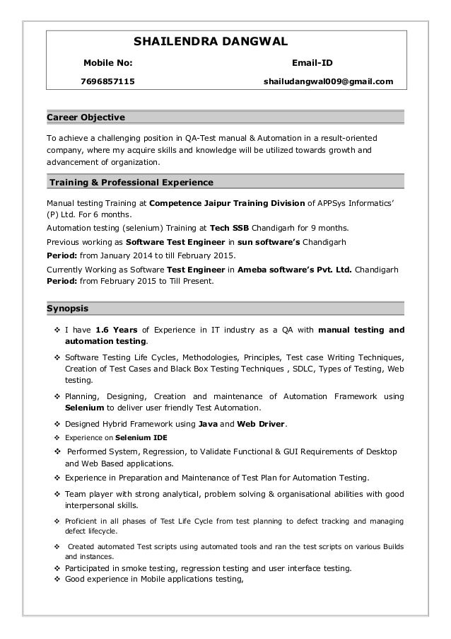 6 months experience resume sample in software engineer for Sample resume for manual testing professional of 2 yr experience