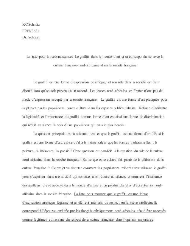KC Schmitz FREN3631 Dr. Schreier La lutte pour la reconnaissance: Le graffiti dans le monde d'art et sa correspondance ave...