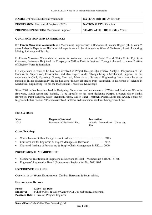 resume for dr francis wamundila
