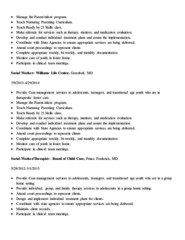 Group home worker sample resume
