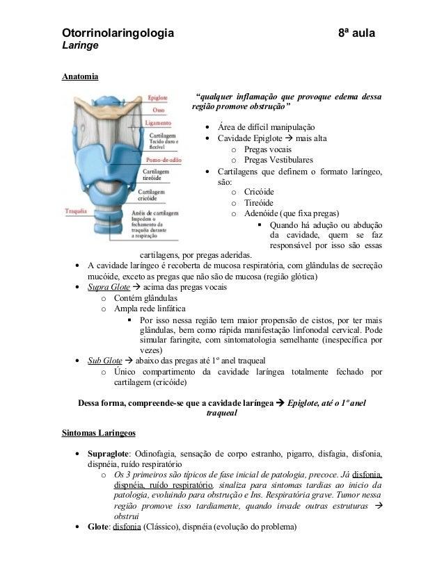 Otorrinolaringologia                                                          8ª aulaLaringeAnatomia                      ...