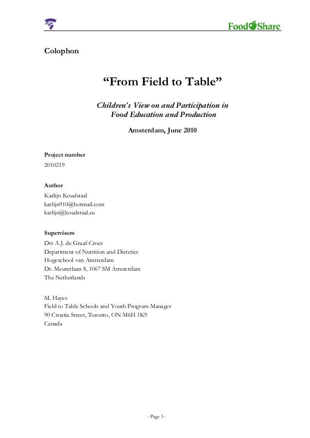 Thesis on nutrition and dietetics
