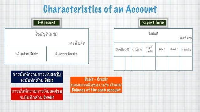 Characteristics of an Account T-Account  Report form  ชื่อบัญชี (Title)  ชื่อบัญชี เลขที่ บ/ช  เลขที่ บ/ช วัน-เดือน-ปี  ด้...