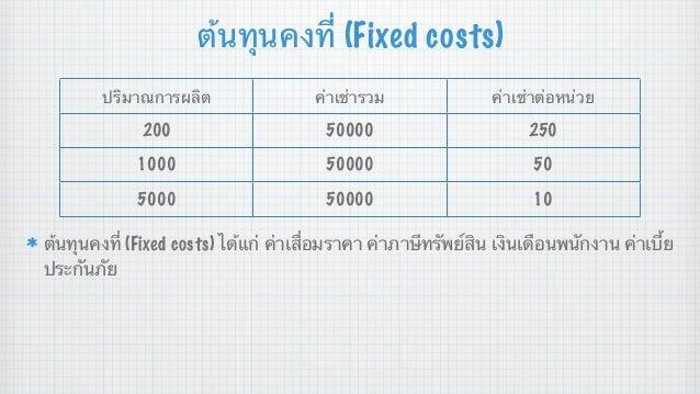 ต้นทุนคงที่ (Fixed costs) ปริมาณการผลิต  ค่าเช่ารวม  ค่าเช่าต่อหน่วย  200  50000  250  1000  50000  50  5000  50000  10  ต...