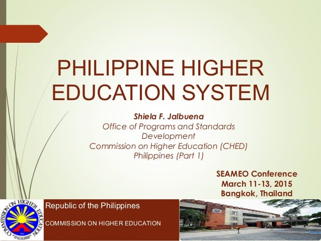 PHILIPPINE HIGHER EDUCATION SYSTEM Republic of the Philippines COMMISSION ON HIGHER EDUCATION SEAMEO Conference March 11-1...
