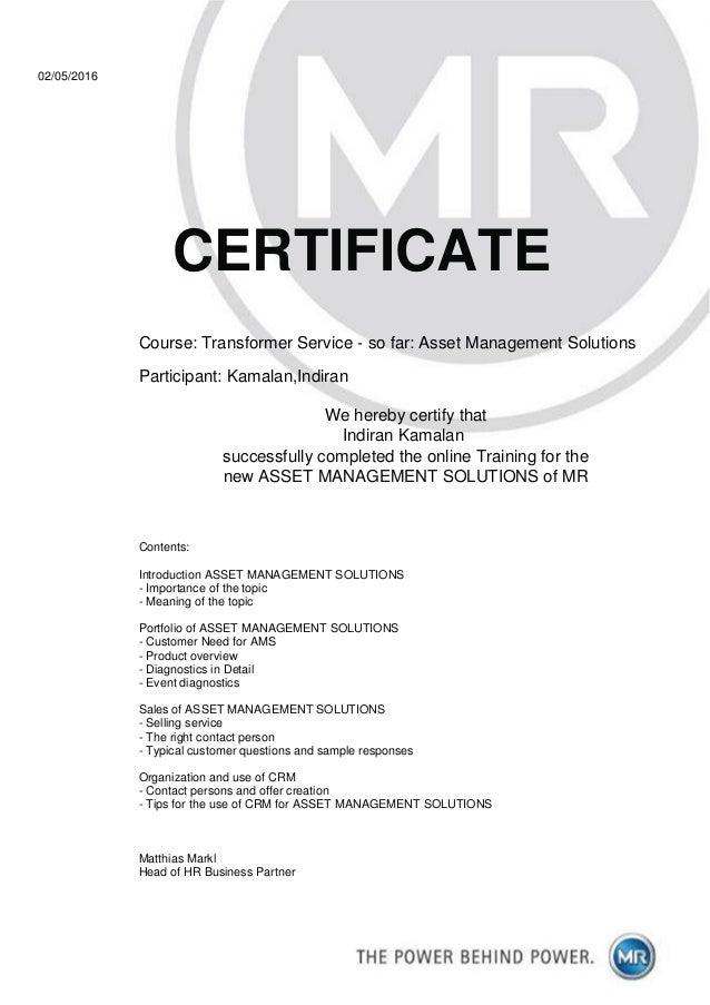 Certificate Online Training Asset Management Solutions