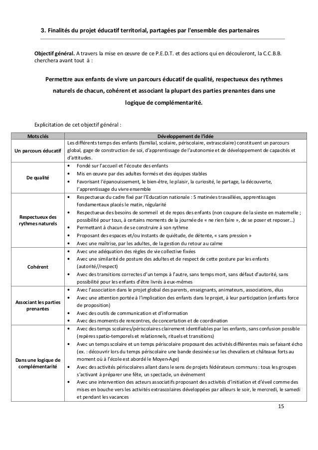 15 3. Finalités du projet éducatif territorial, partagées par l'ensemble des partenaires Objectif général. A travers la mi...