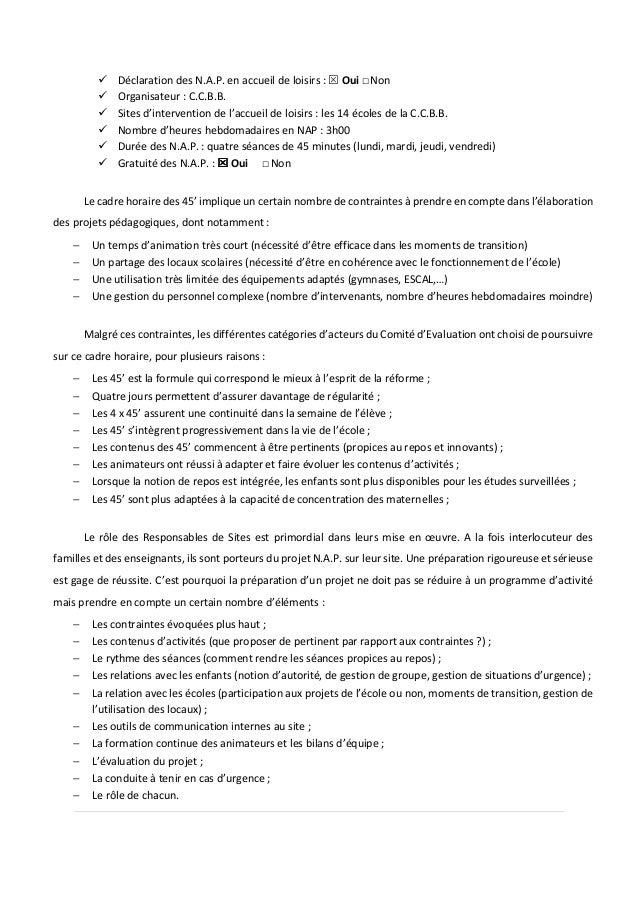 Déclaration des N.A.P. en accueil de loisirs : Oui □Non Organisateur : C.C.B.B. Sites d'intervention de l'accueil de loisi...