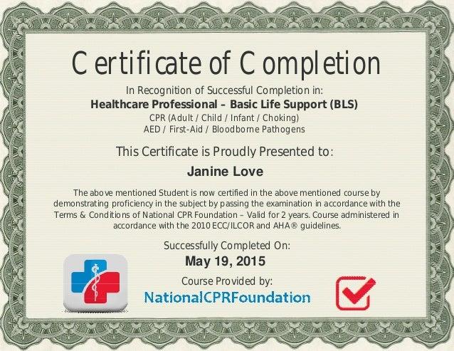 bls certificate 05.02015