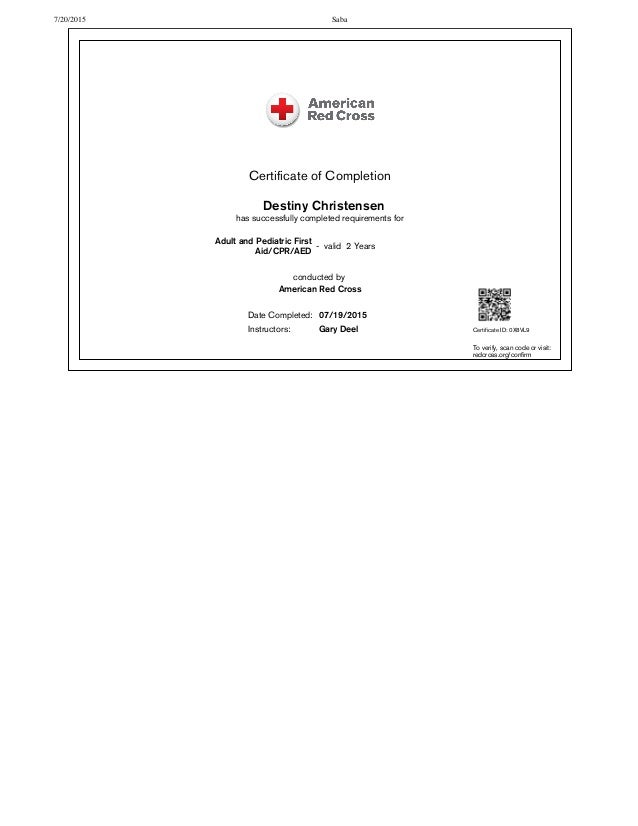 Red Cross Cpr First Aid Certification Free Professional Resume