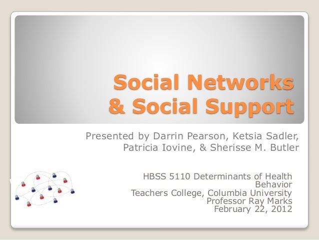 Social Networks & Social Support HBSS 5110 Determinants of Health Behavior Teachers College, Columbia University Professor...