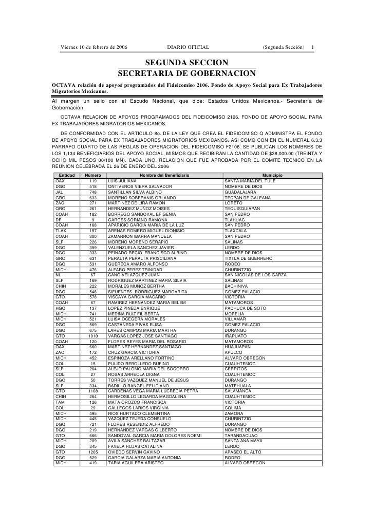 Viernes 10 de febrero de 2006             DIARIO OFICIAL                    (Segunda Sección)   1                         ...
