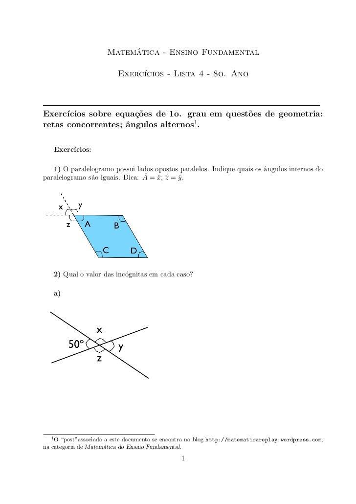 ´                      Matematica - Ensino Fundamental                          Exerc´                               ıcios...