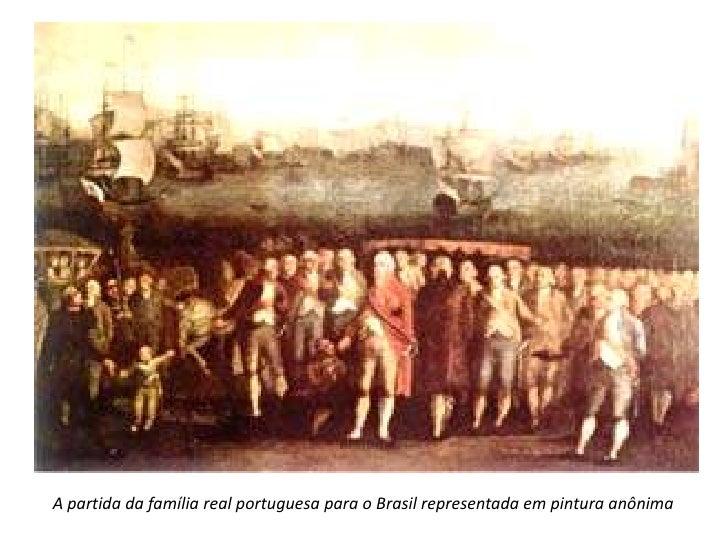 A partida da família real portuguesa para o Brasil representada em pintura anônima