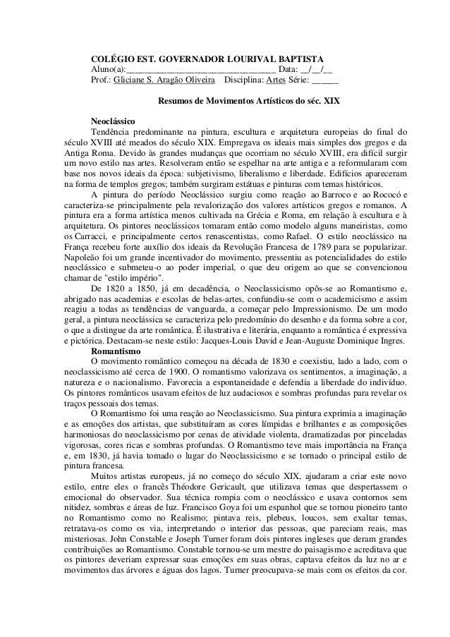 COLÉGIO EST. GOVERNADOR LOURIVAL BAPTISTA       Aluno(a):_________________________________ Data: __/__/__       Prof.: Gli...