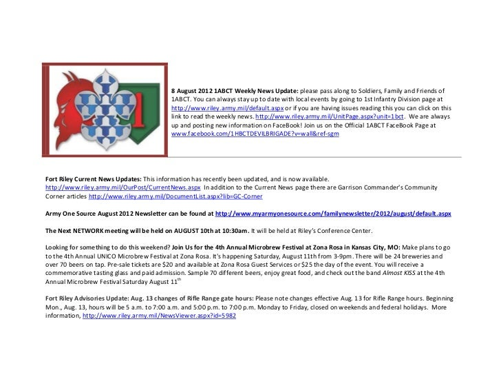 8 August 2012 1ABCT Weekly News Update: please pass along to Soldiers, Family and Friends of                              ...